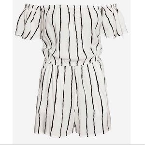 H&M Off-the-shoulder Striped Romper